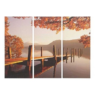 3 piece Lakeside Autumn Jetty Triptych Canvas
