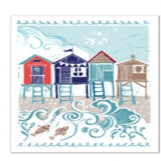 Blustery Beach Huts Canvas Wall Art