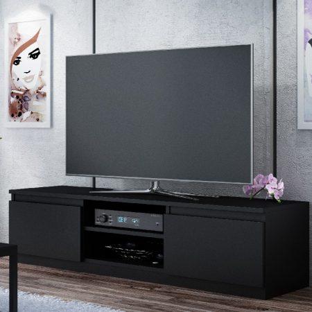 Tv Media Storage Unit For 55 Tv Matt Black Iqgb Uk
