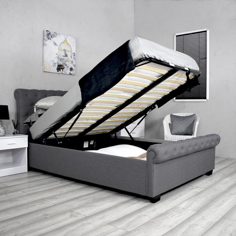Surprising 4Ft6 Double Dark Grey Ottoman Storage Sleigh Bed Iqgb Uk Pdpeps Interior Chair Design Pdpepsorg