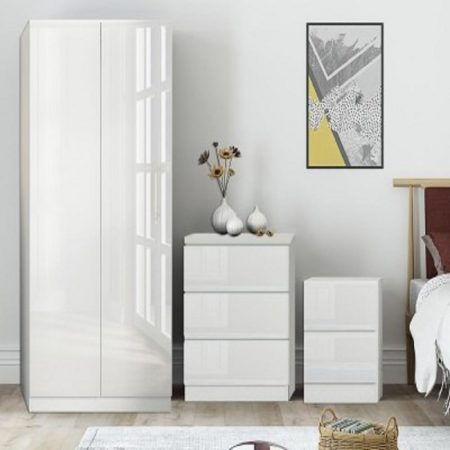 White High Gloss 3 piece Bedroom Furniture Set - iQGB UK
