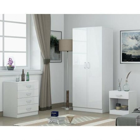 White Gloss Bedroom Furniture Set 3 Pieces .Includes Wardrobe,Chest &  Bedside. - iQGB UK