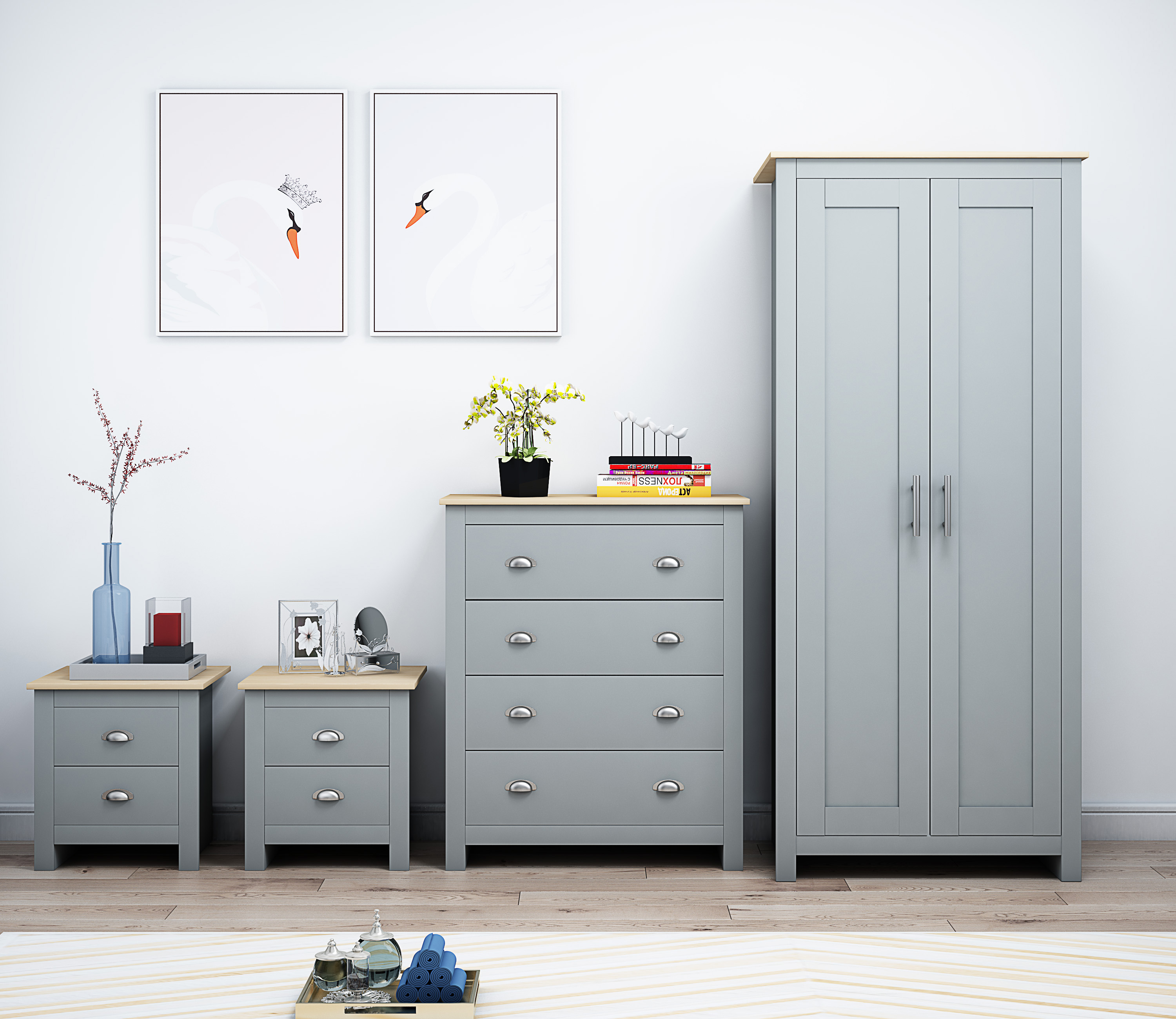 Westbury 4 pce Grey And Oak Bedroom Set - iQGB UK